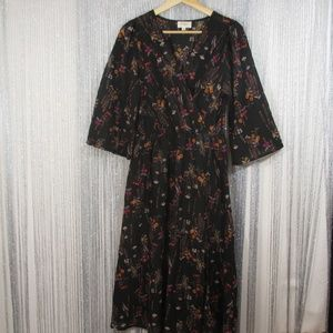 EVERLY dress black floral faux wrap size medium